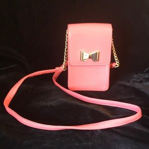 Tahari Coral Gold Bow Chain Crossbody Wallet Bag